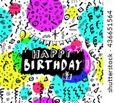 happy birthday  hand drawn... | Shutterstock .eps vector #436651564