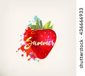 watercolor red strawberry with... | Shutterstock .eps vector #436666933