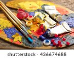 paints and brushes  | Shutterstock . vector #436674688