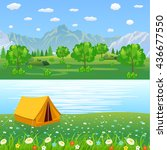 tent camping tourist forest... | Shutterstock . vector #436677550