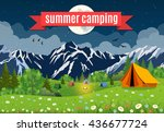 flat illustration camping. | Shutterstock . vector #436677724