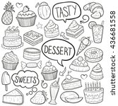 Desserts Sweets Doodle Icons...