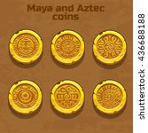 old gold aztec and maya coins ... | Shutterstock .eps vector #436688188
