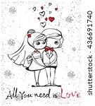 vector illustration of wedding... | Shutterstock .eps vector #436691740