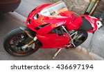 Small photo of Helsinki, Finland - May 21, 2016: Red Ducati 749, it is a V-twin Desmodromic valve actuated engine sport bike by Ducati Motor Holding between 2003 and 2006. Designed by Pierre Terblanche