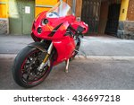 Small photo of Helsinki, Finland - May 21, 2016: Red super bike Ducati 749, it is a V-twin Desmodromic valve actuated engine sport bike by Ducati Motor Holding between 2003 and 2006. Designed by Pierre Terblanche