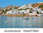 in cyclades island harbor and... | Shutterstock . vector #436697860