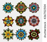 traditional tattoo flowers set... | Shutterstock .eps vector #436702504