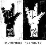 hand drawn rock festival poster.... | Shutterstock .eps vector #436708753