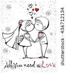 vector illustration of wedding... | Shutterstock .eps vector #436712134
