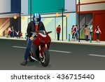 A Vector Illustration Of Biker...