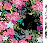 vector seamless pattern flowers  | Shutterstock .eps vector #436718803