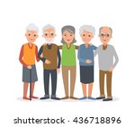 group of elderly people stand... | Shutterstock .eps vector #436718896