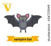 vampire bat. v letter. cute... | Shutterstock .eps vector #436725049