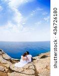 happy wedding couple standing... | Shutterstock . vector #436726180