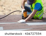 roofer builder worker with... | Shutterstock . vector #436727554