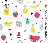summer seamless pattern with... | Shutterstock .eps vector #436727890