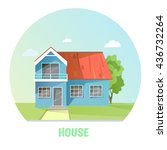 colorful rural house. flat... | Shutterstock .eps vector #436732264
