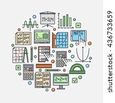 math round illustration. vector ... | Shutterstock .eps vector #436733659
