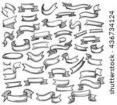 sketch of hand drawn ribbon set ... | Shutterstock .eps vector #436734124