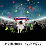 slovakia fan stand up and hand... | Shutterstock .eps vector #436734898