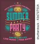 summer beach party poster.... | Shutterstock .eps vector #436737514