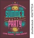 summer beach party poster.... | Shutterstock .eps vector #436737514