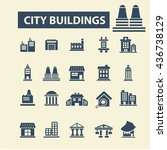 city buildings icons | Shutterstock .eps vector #436738129