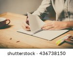 home office desk background ... | Shutterstock . vector #436738150
