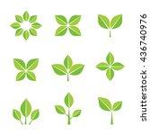 green leaves flat design... | Shutterstock .eps vector #436740976