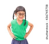 Small photo of Little asian girl with arms akimbo isolated on white background