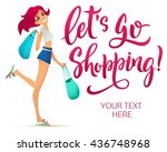 shopping girl illustration.... | Shutterstock .eps vector #436748968
