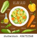 recipe salad with ingredients.... | Shutterstock .eps vector #436752568