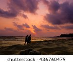 walking on the beach background ... | Shutterstock . vector #436760479