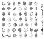 black icons   fruits and... | Shutterstock .eps vector #436761703
