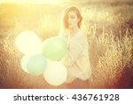 happy young woman holding green ... | Shutterstock . vector #436761928
