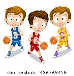 Young Cartoon Basketball Playe...