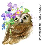 cute owl. watercolor...   Shutterstock . vector #436772230