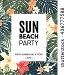 bright hawaiian design with... | Shutterstock .eps vector #436777588