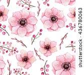 watercolor light pink flowers... | Shutterstock . vector #436780063