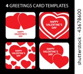 4 greeting cards  valentine's... | Shutterstock .eps vector #43678600