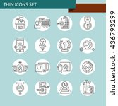 set of thin line business icons | Shutterstock .eps vector #436793299