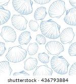 seamless pattern with seashells.... | Shutterstock .eps vector #436793884