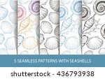 a set of seamless pattern with... | Shutterstock .eps vector #436793938