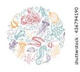 set of marine animals outline... | Shutterstock .eps vector #436794190