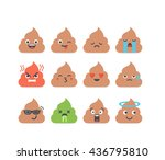 set of vector poop emoticons ... | Shutterstock .eps vector #436795810