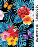 tropical seamless pattern with... | Shutterstock .eps vector #436800130