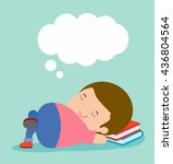 kid sleeping at home on... | Shutterstock .eps vector #436804564