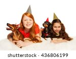 girls and pets having fun on... | Shutterstock . vector #436806199
