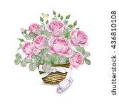 Watercolor Rose Basket